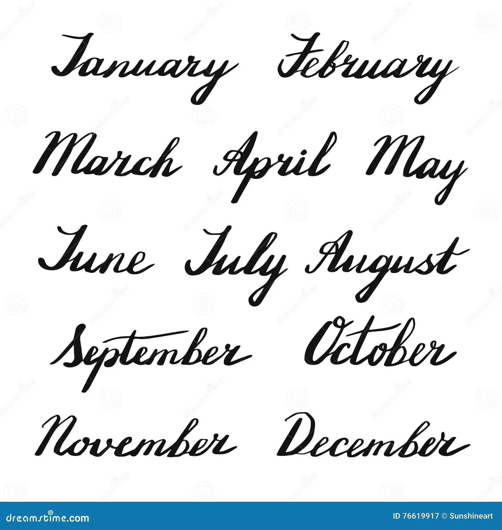 Handwritten Months Of The Year Stock Vector
