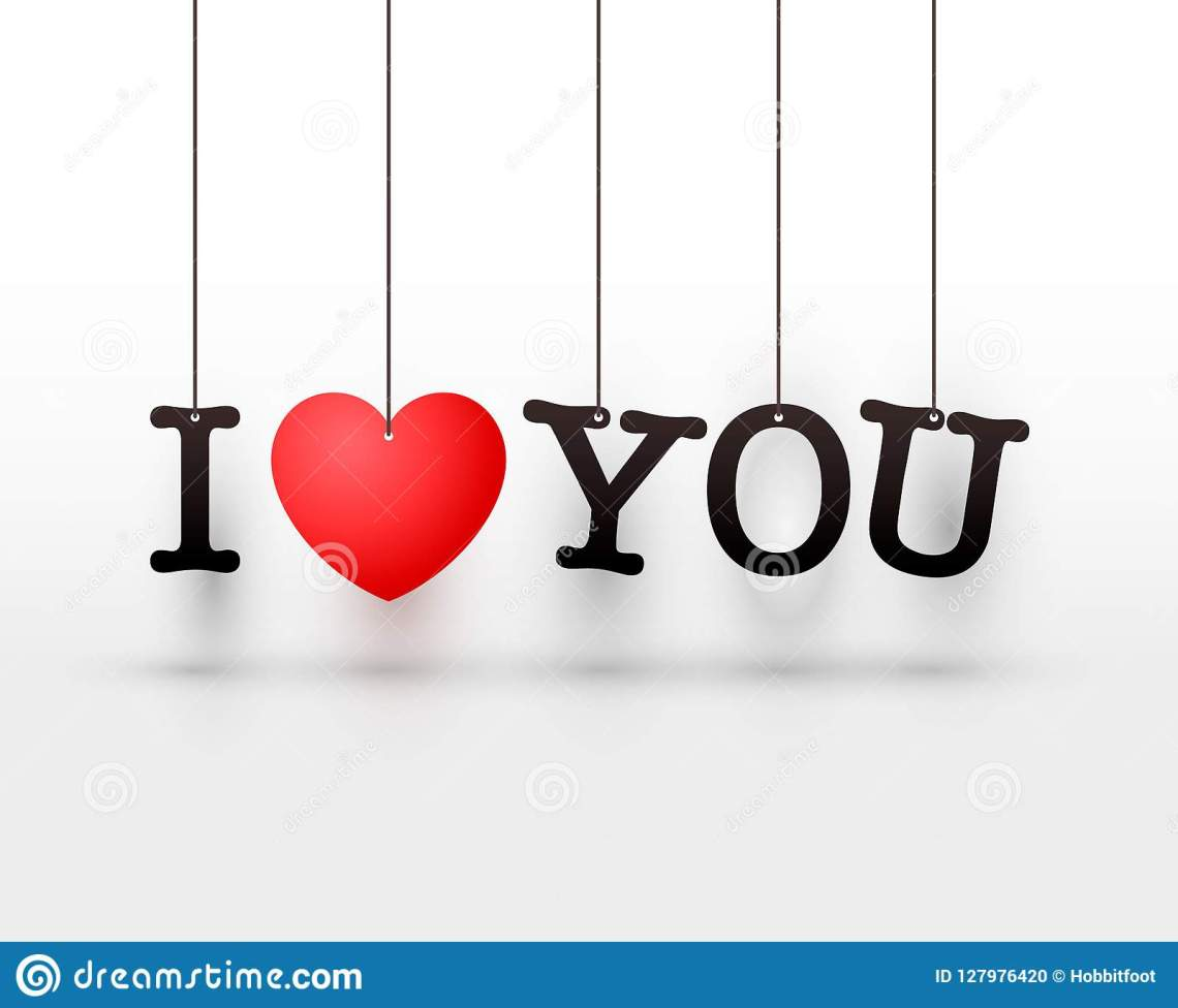 Download Hanging Letters I Love You Red Heart. Stock Vector ...