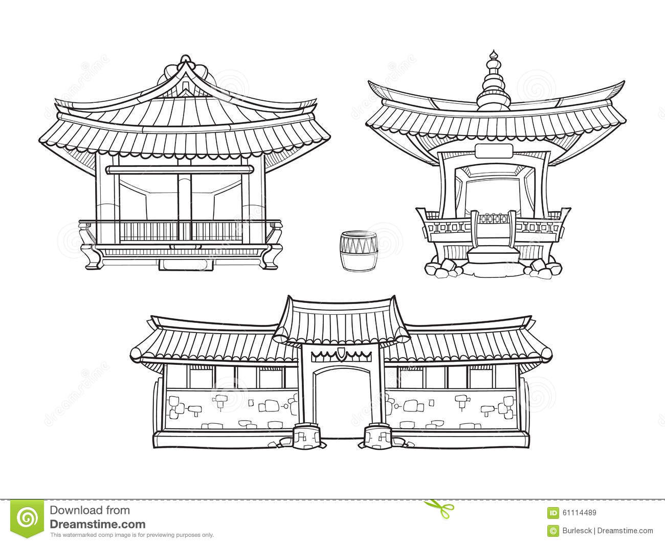 Hanok Korean Traditional Architecture Vector Stock Vector