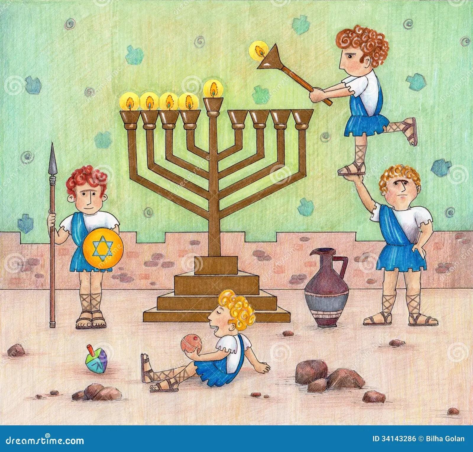 Hanukkah Menorah Lighting Royalty Free Stock Image Image