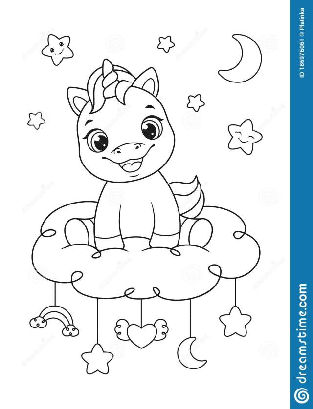 Happy Baby Unicorn Coloring Page Stock Vector - Illustration of