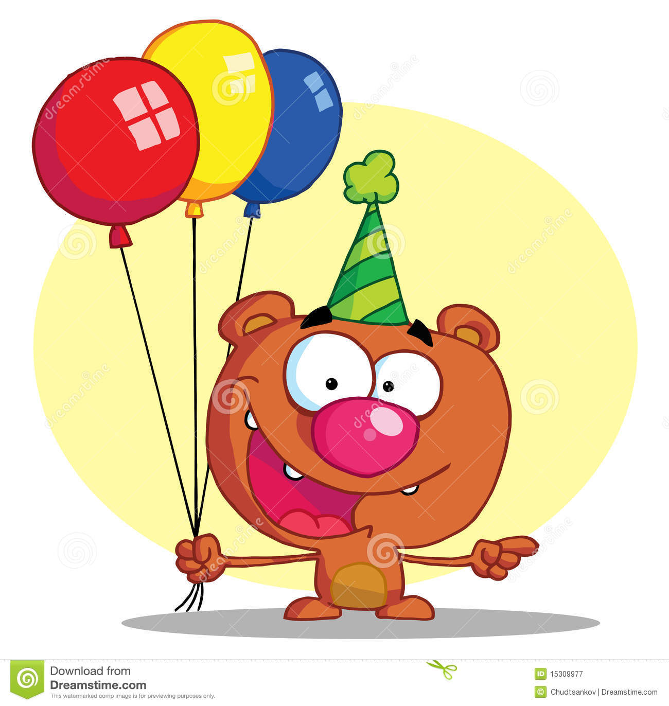 Happy Bear In Party Hat With Balloons Royalty Free Stock