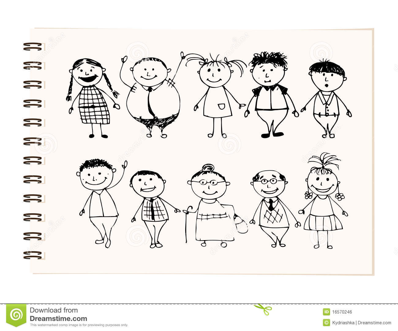 Happy Big Family Smiling Together Drawing Sketch Royalty