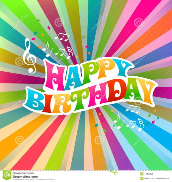 Happy Birthday Art Music Card Stock Vector - Image: 44363626