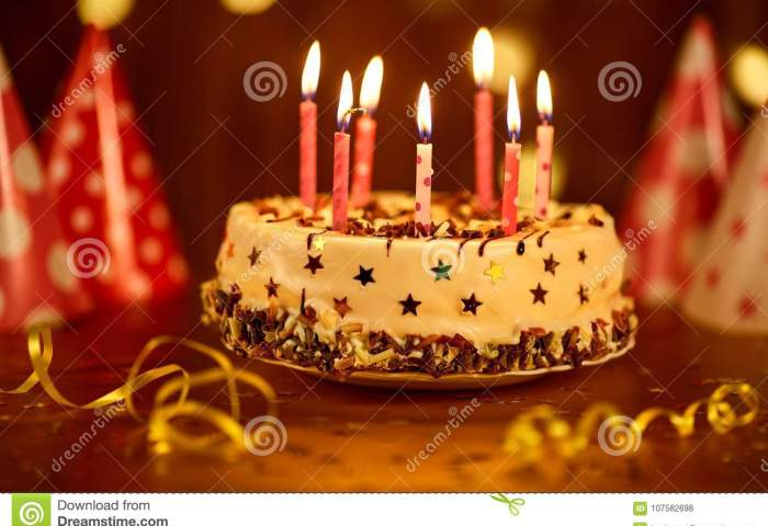 Happy Birthday Cake With Candles Stock Photo Image Of Decoration