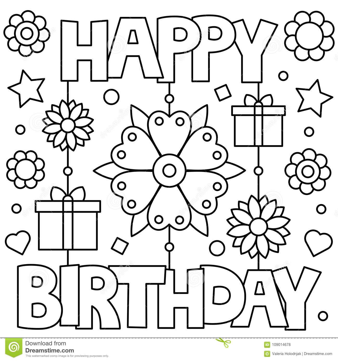 Happy Birthday Coloring Page Vector Illustration Stock Vector