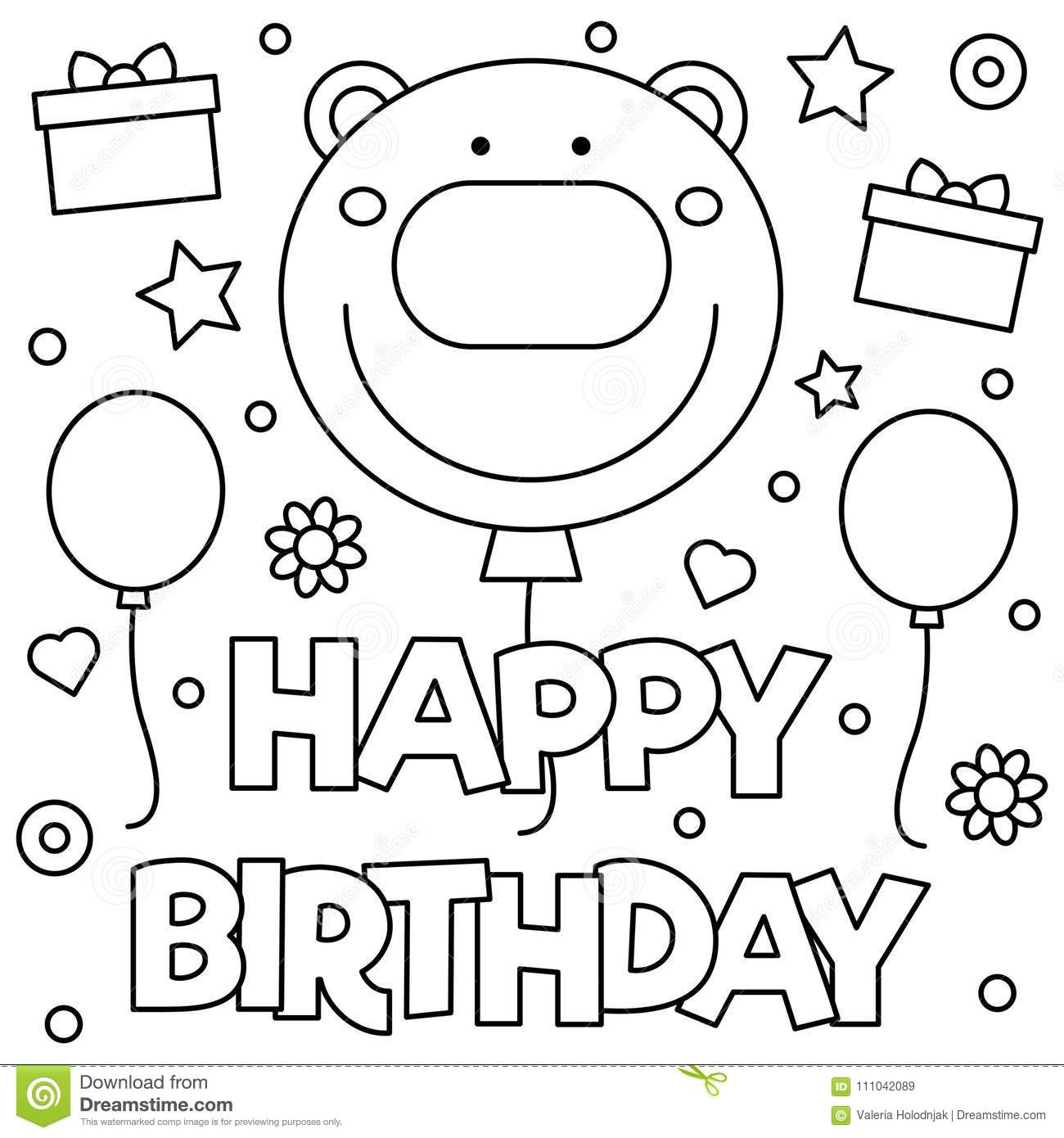 Happy Birthday Coloring Page Vector Illustration Stock
