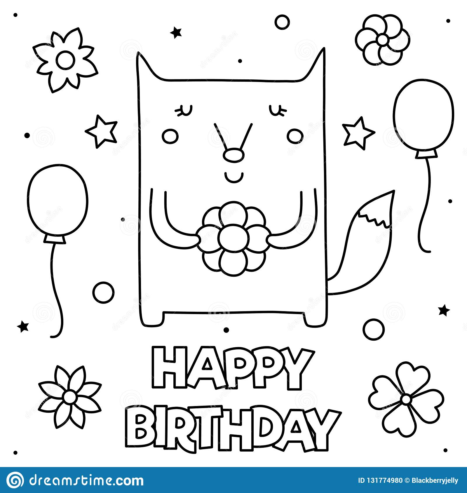 Happy Birthday Coloring Page Vector Illustration Of A Fox Stock Vector Illustration Of Decoration Style 131774980