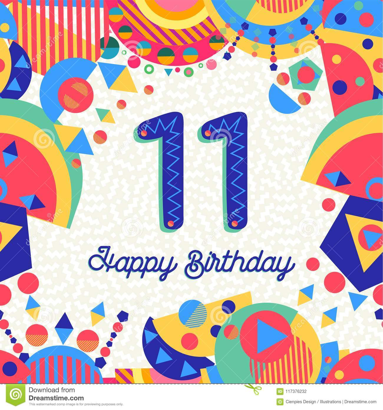 https www dreamstime com happy birthday eleven year fun design number text label colorful decoration ideal party invitation greeting card image117376232