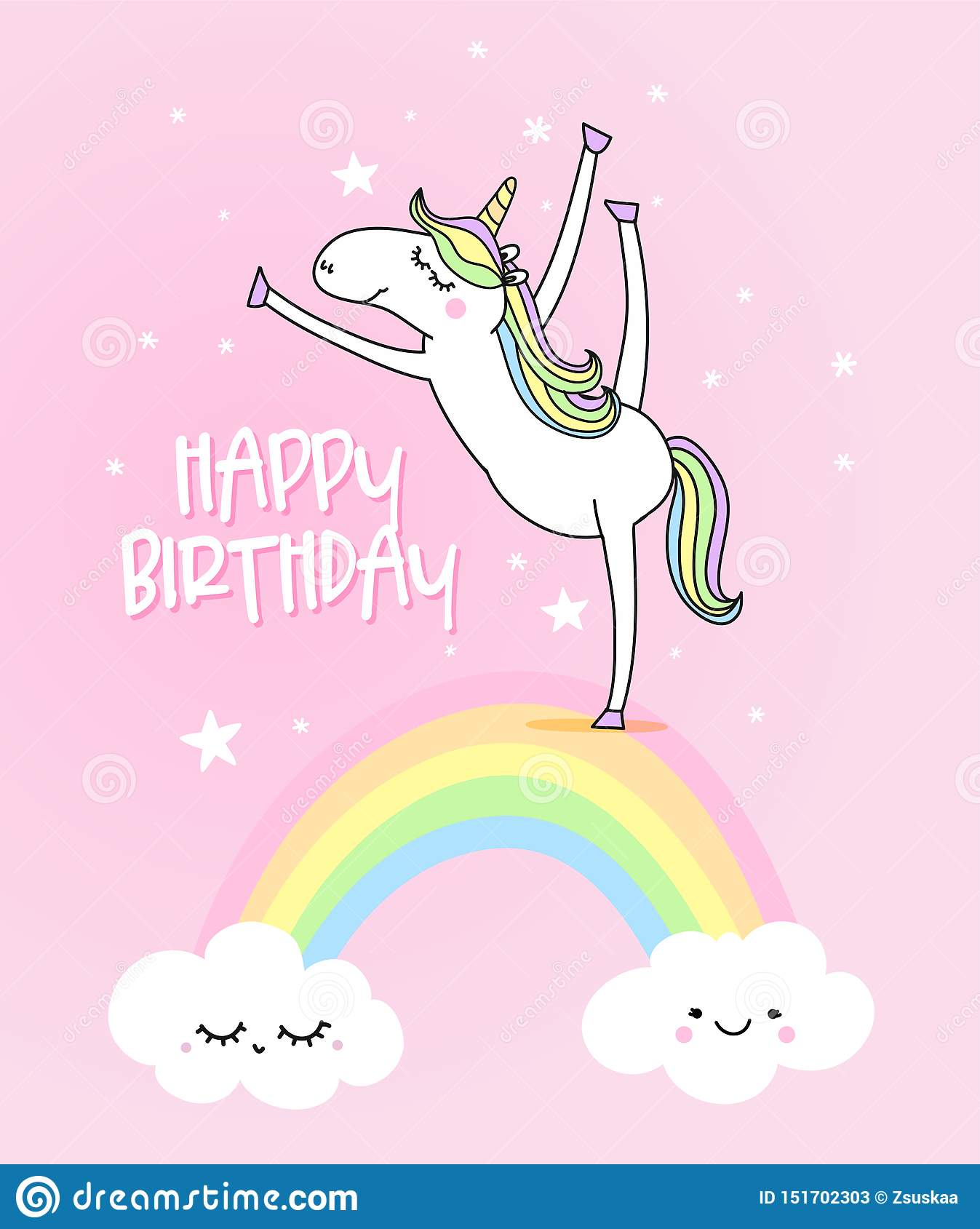 Happy Birthday Funny Vector Quotes And Unicorn Drawing Stock Vector Illustration Of Card Background 151702303