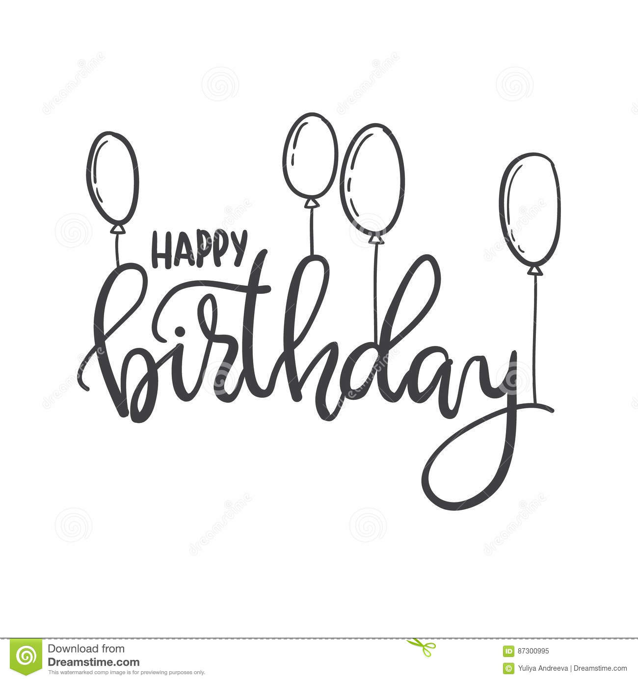 Happy Birthday Hand Lettering Typography Template For