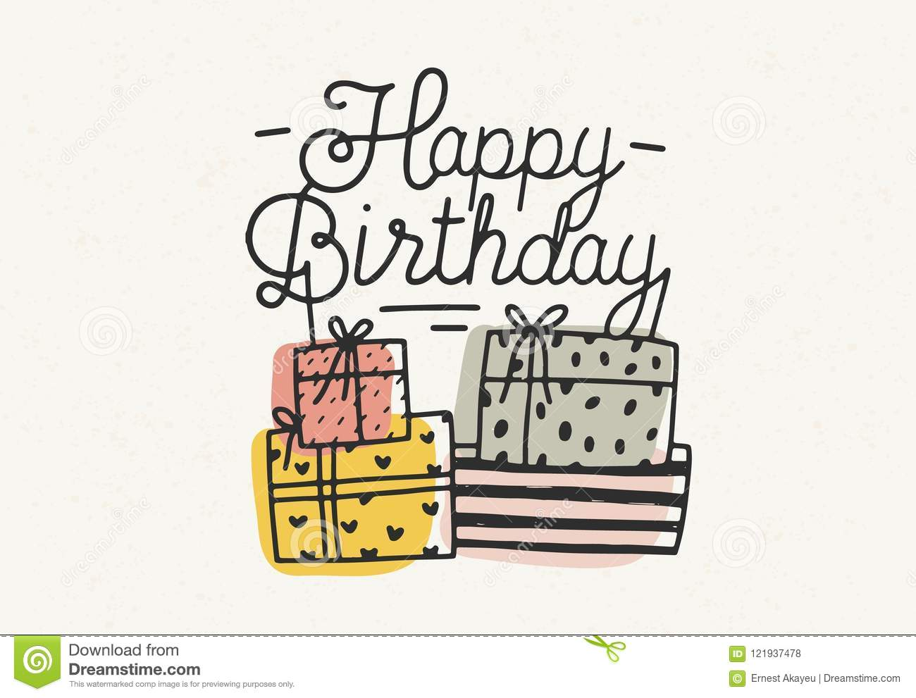 Happy Birthday Lettering Or Wish Written With Cursive Font