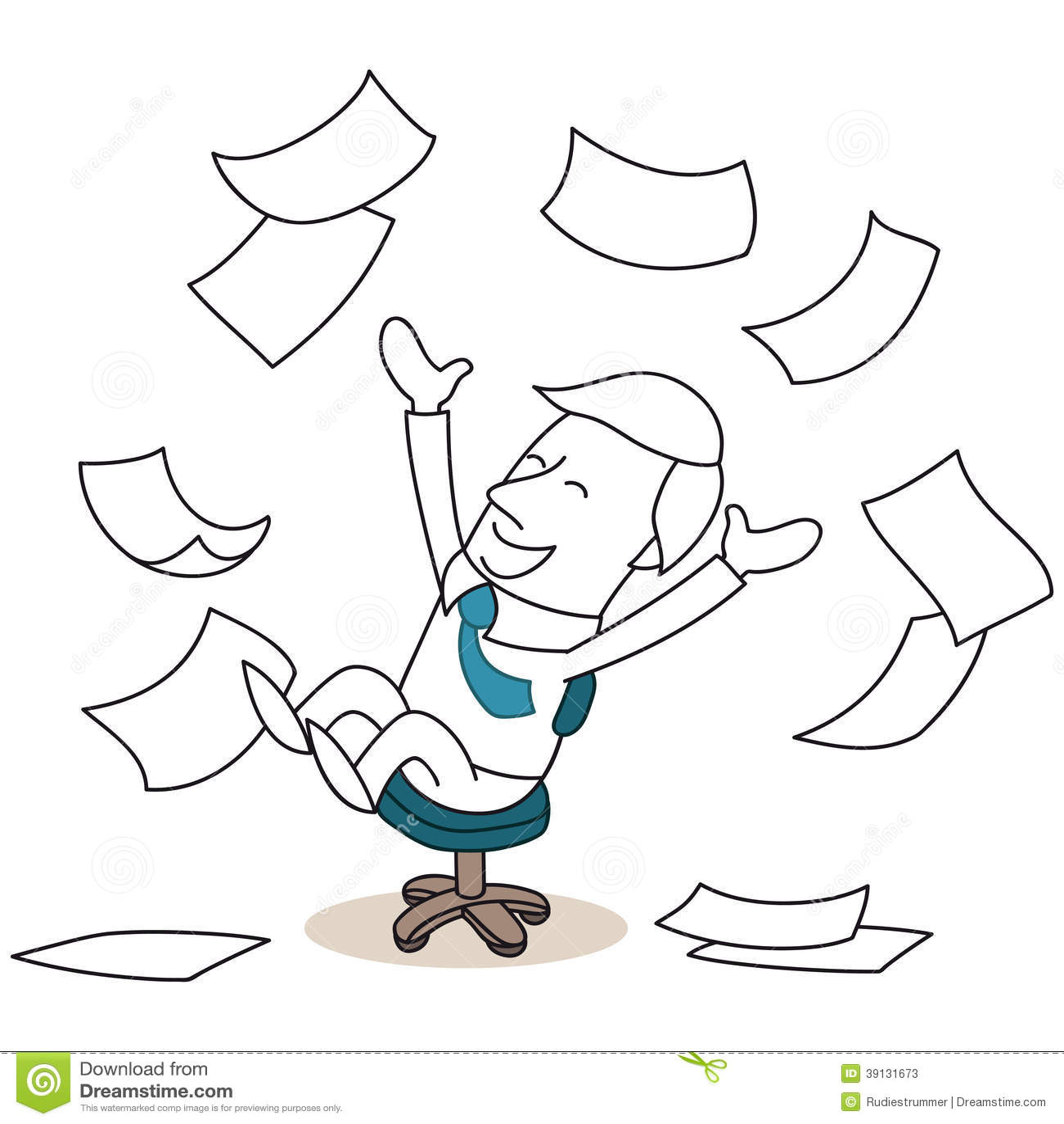 Happy Cartoon Businessman Throwing Papers Stock Vector