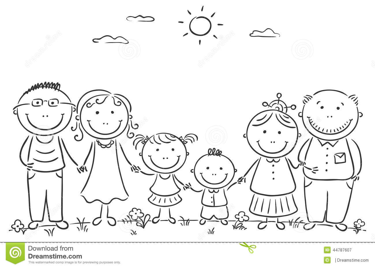 Happy Cartoon Famile With Two Children And Grandparents