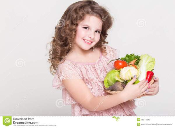 Happy Child Portrait With Organic Vegetables, Little Girl ...