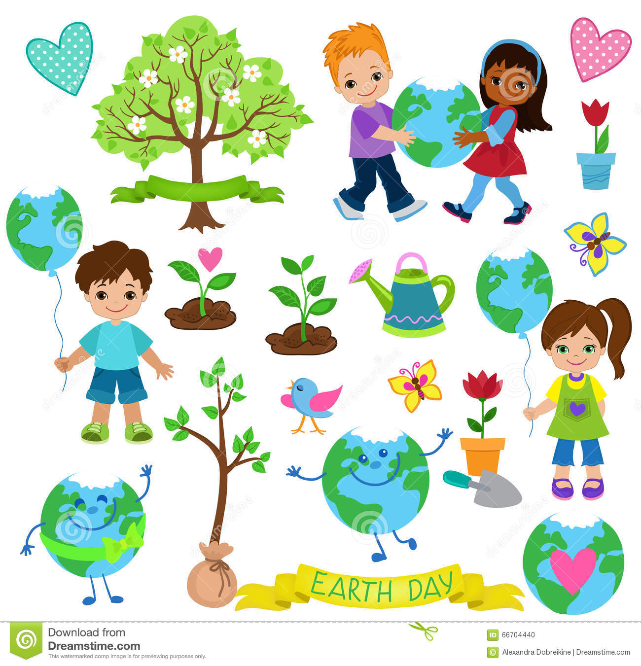 Happy Children Celebrate Earth Day Ecology Elements Stock