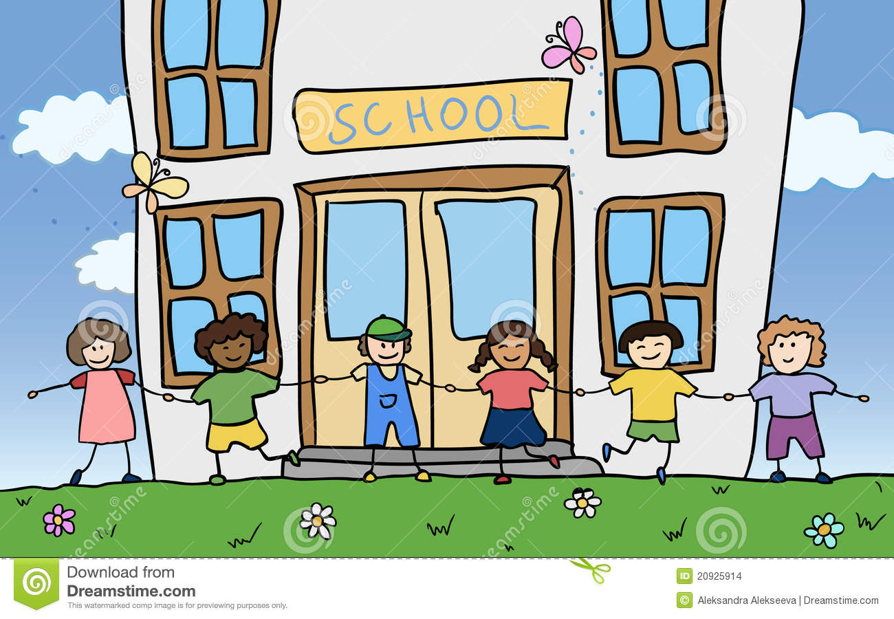 Happy Children Holding For Hands Near School Stock Vector