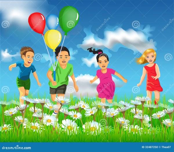 Happy Children Running In The Field Stock Vector ...