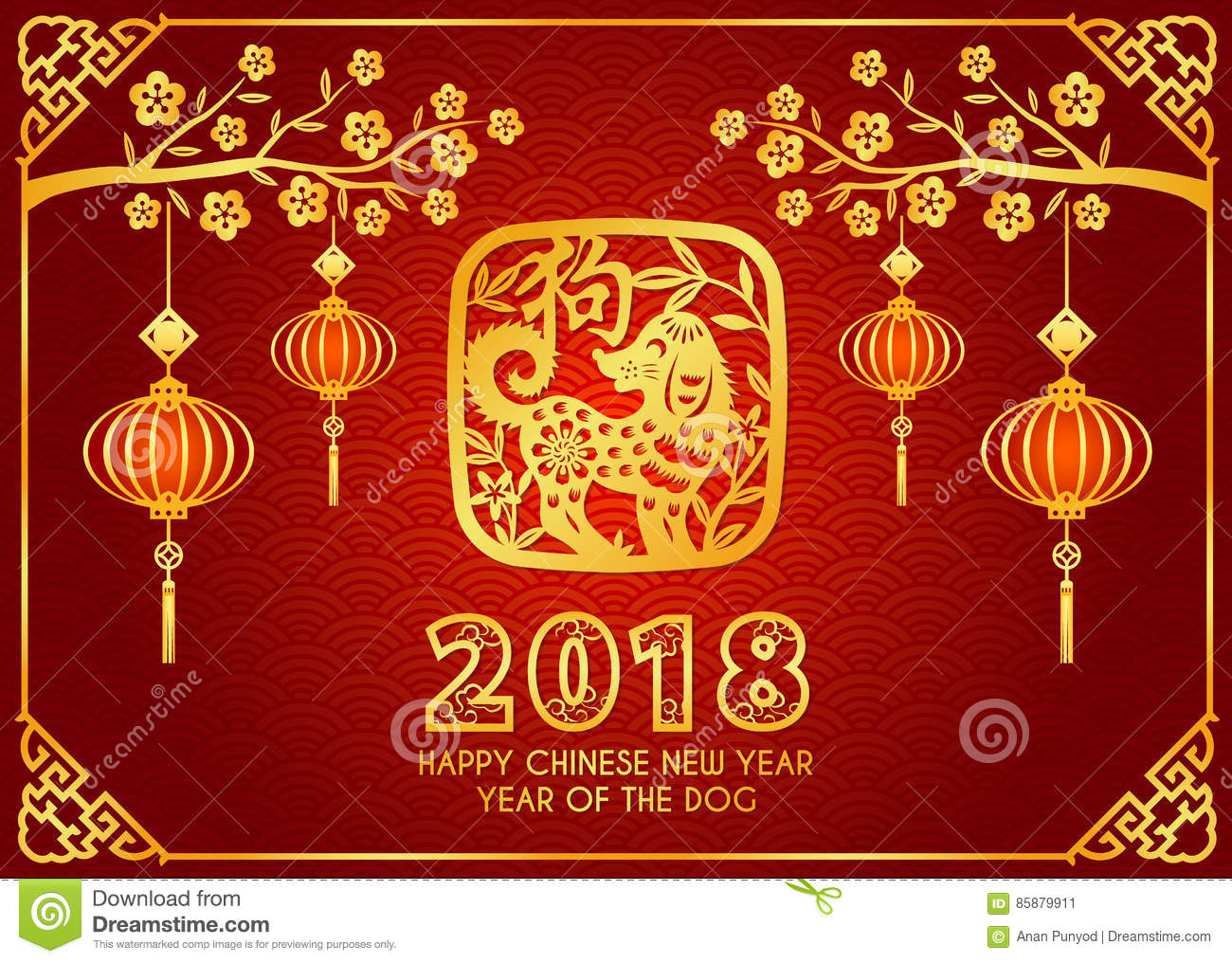 Happy Chinese New Year Card Is Lanterns Hang On