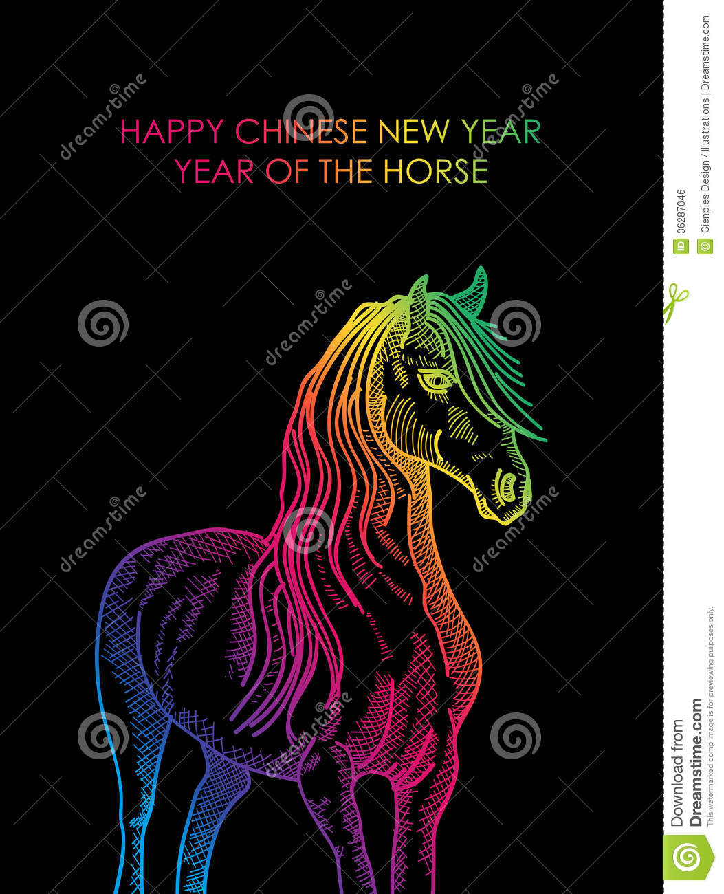 Happy Chinese New Year Of Horse Colorful Postcard