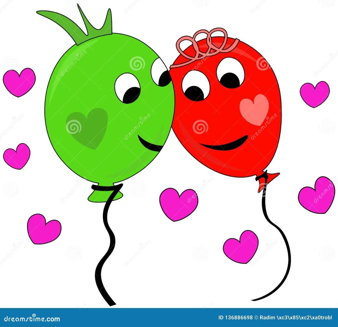 Download Happy Couple Of Balloons In Love Stock Vector ...