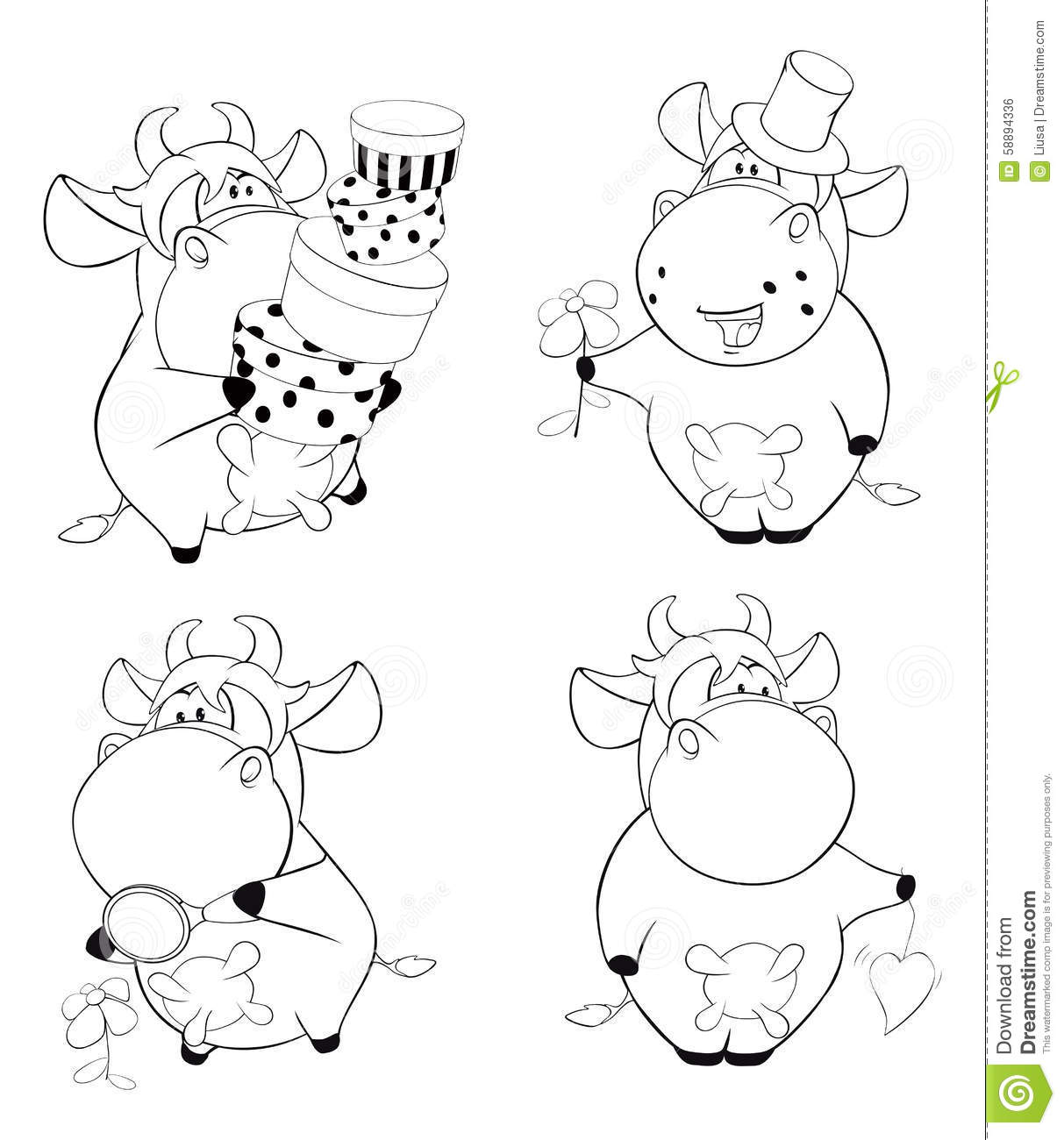 Happy Cows Clip Art Cartoon Coloring Book Stock Vector