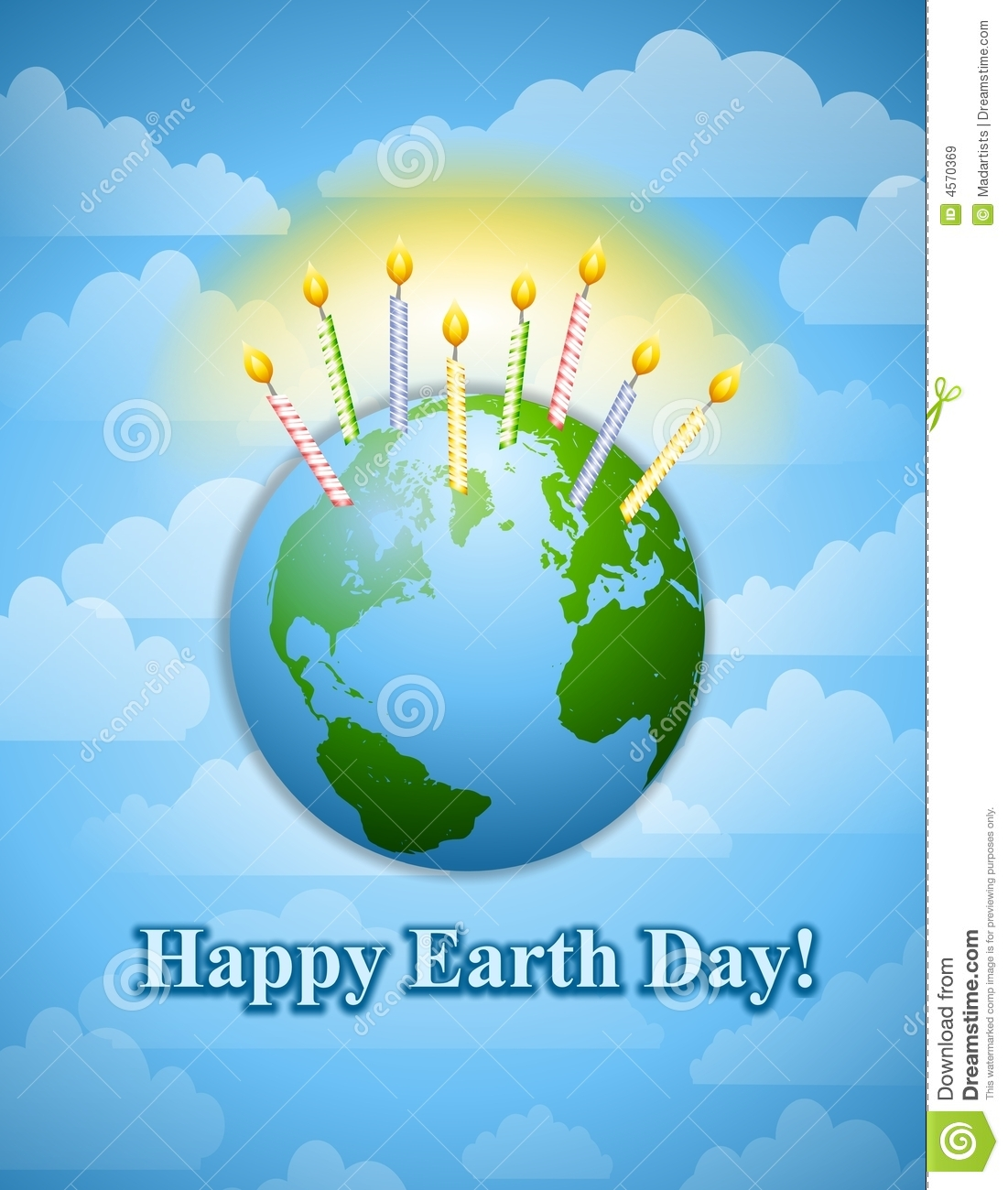 Happy Earth Day Birthday Candles Stock Illustration