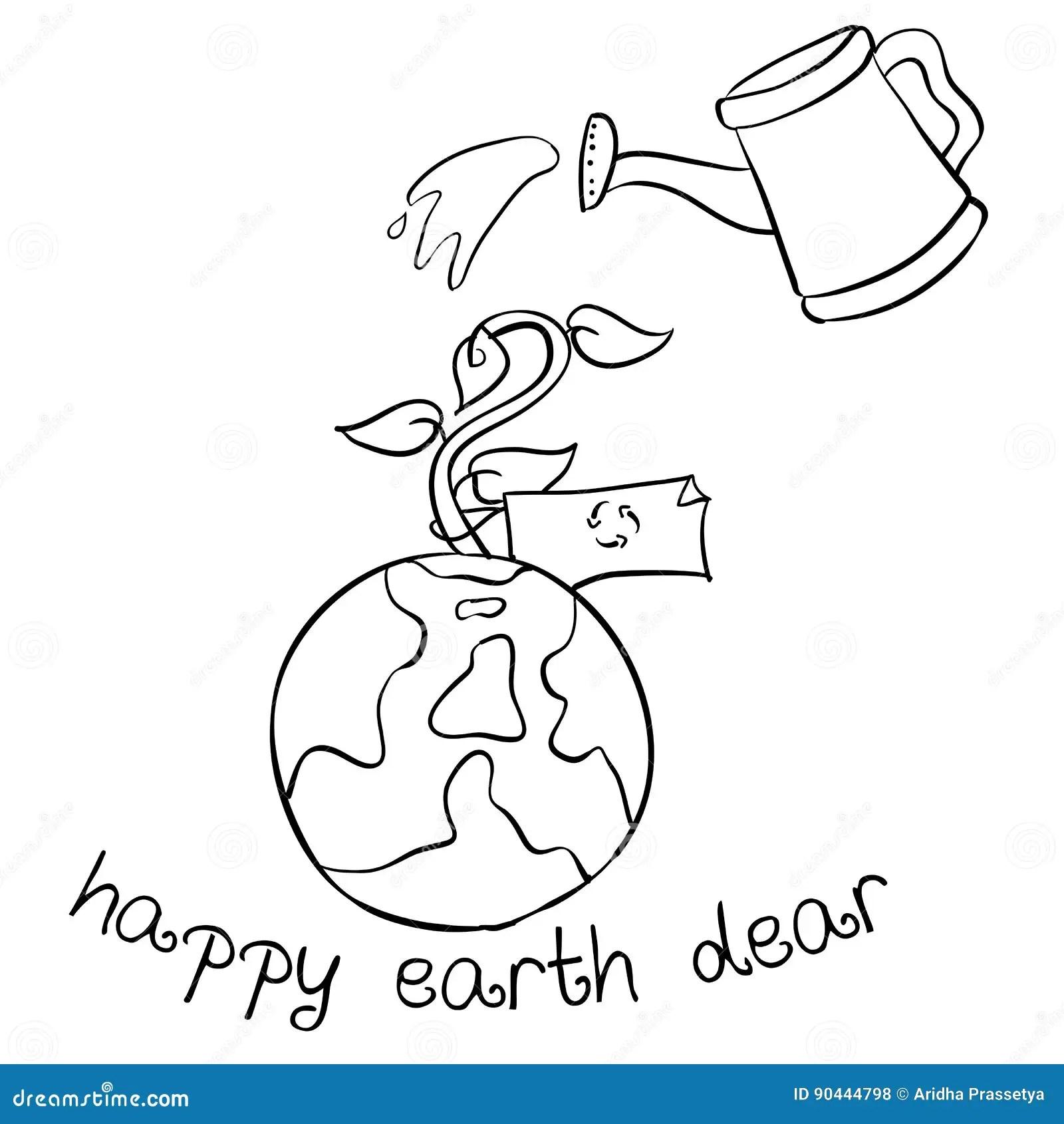 Happy Earth Day Hand Draw World Stock Vector