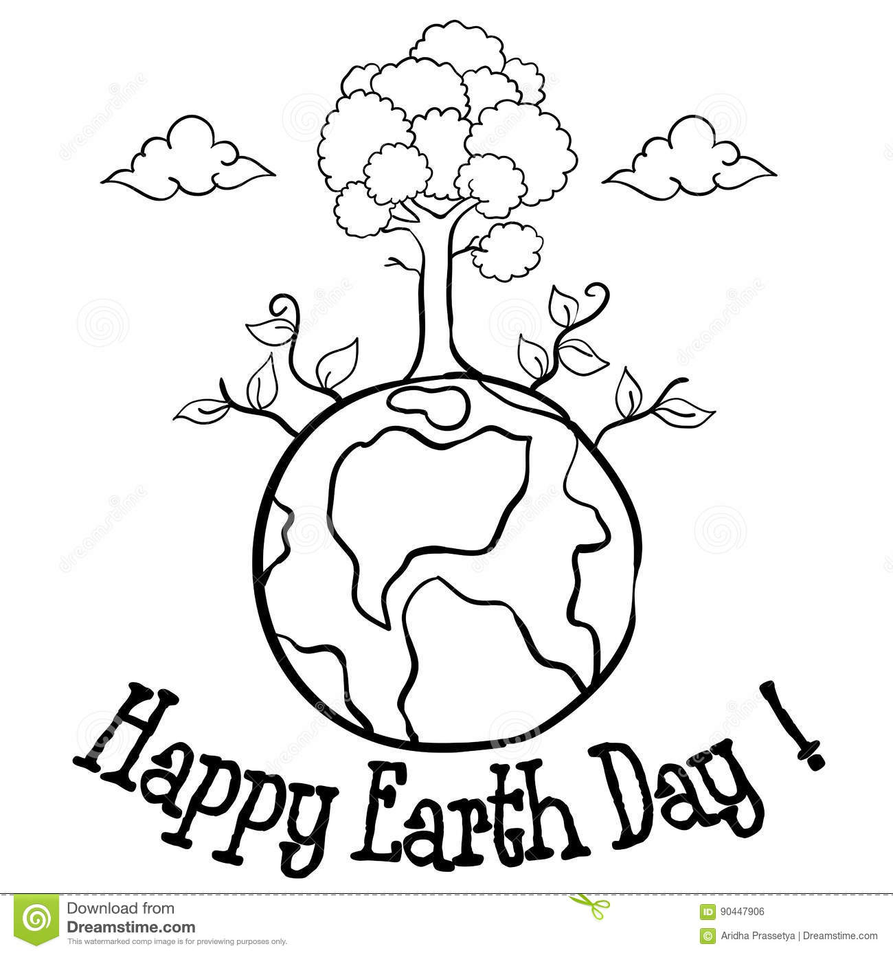 Happy Earth Day With Tree Hand Draw Stock Vector