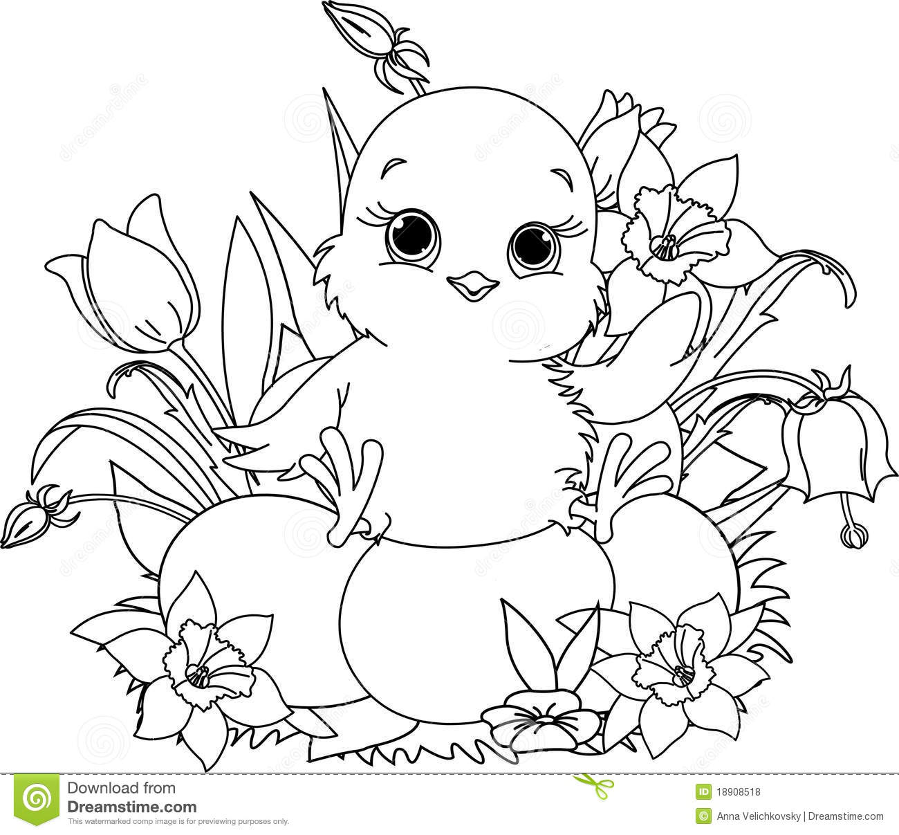 Happy Easter Chick Coloring Page Stock Vector