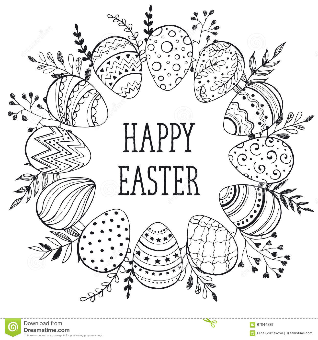 Happy Easter Greeting Card Stock Vector Illustration Of