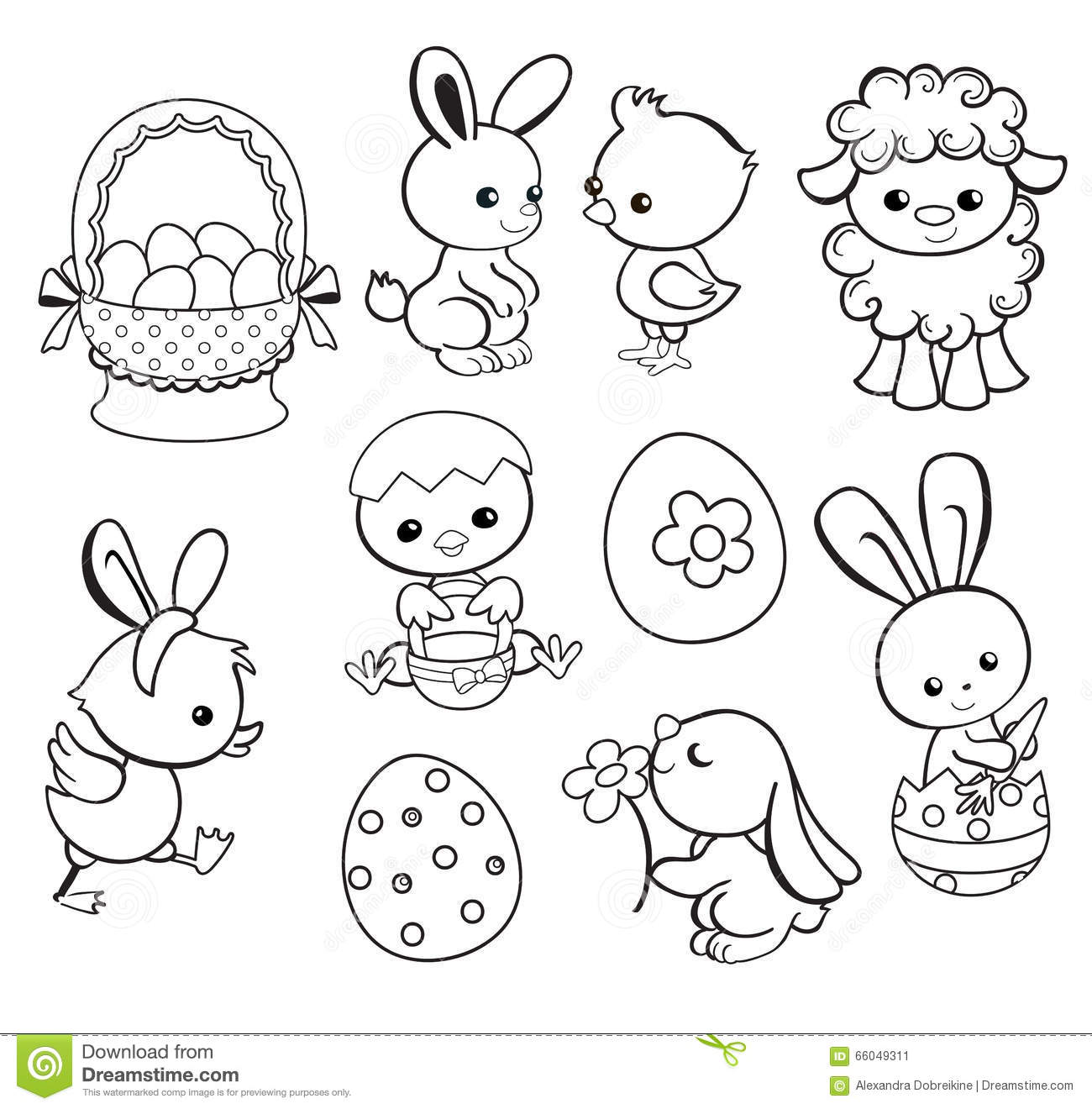 Happy Easter Holiday Illustration With Cute Chicken Bunny