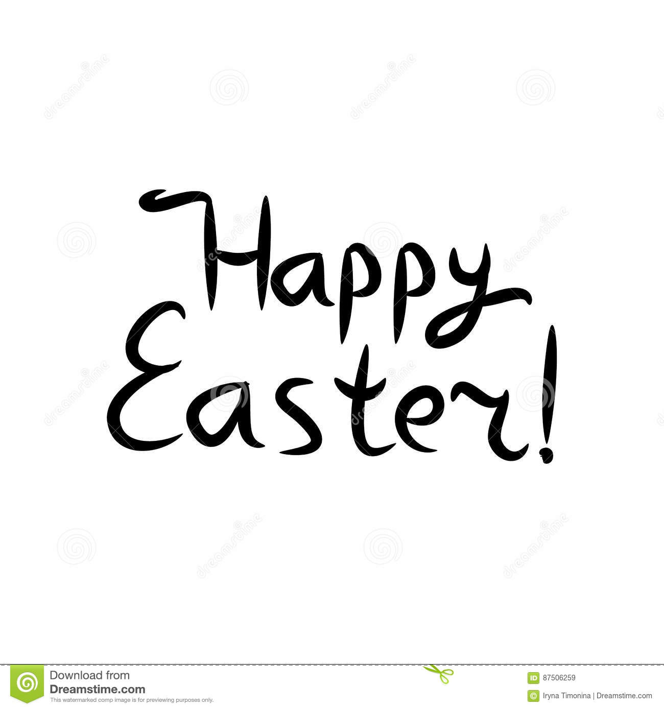 Happy Easter Lettering Black Inscription Hand Drawing