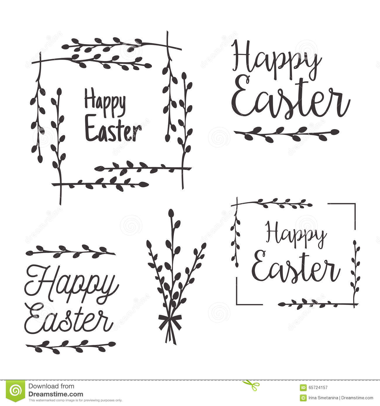 Happy Easter Templates Labels Borders Stock Vector