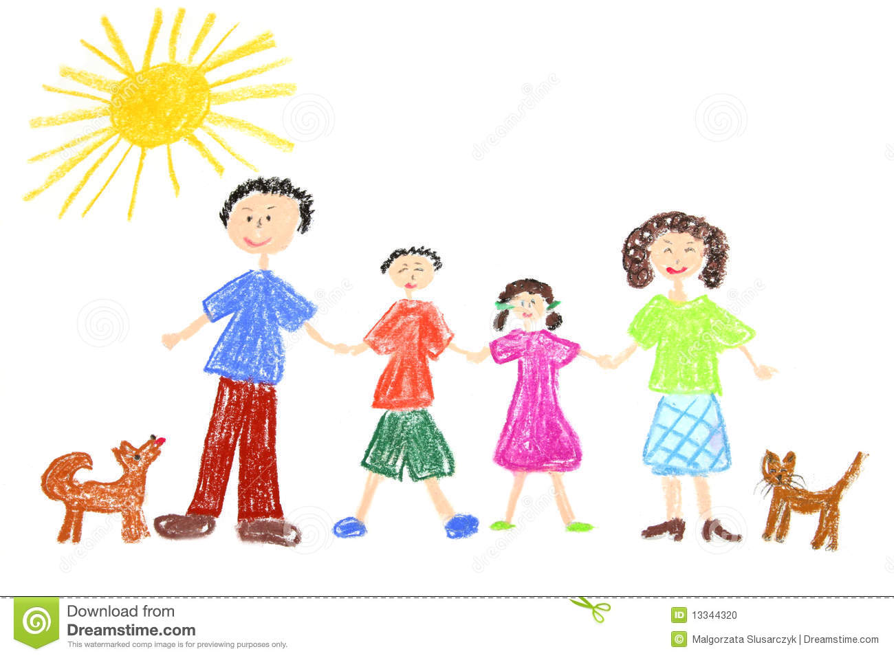 Happy Family Drawing Stock Illustration Image Of Children