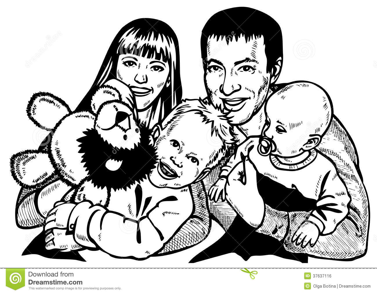 Happy Family Stock Vector Illustration Of Look Stand