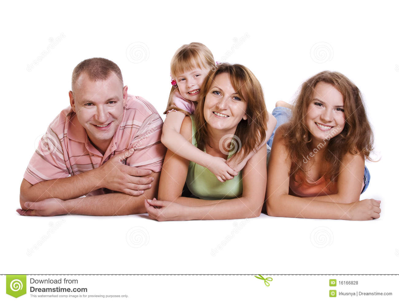 Happy Family Mother Father And Two Daughters Royalty