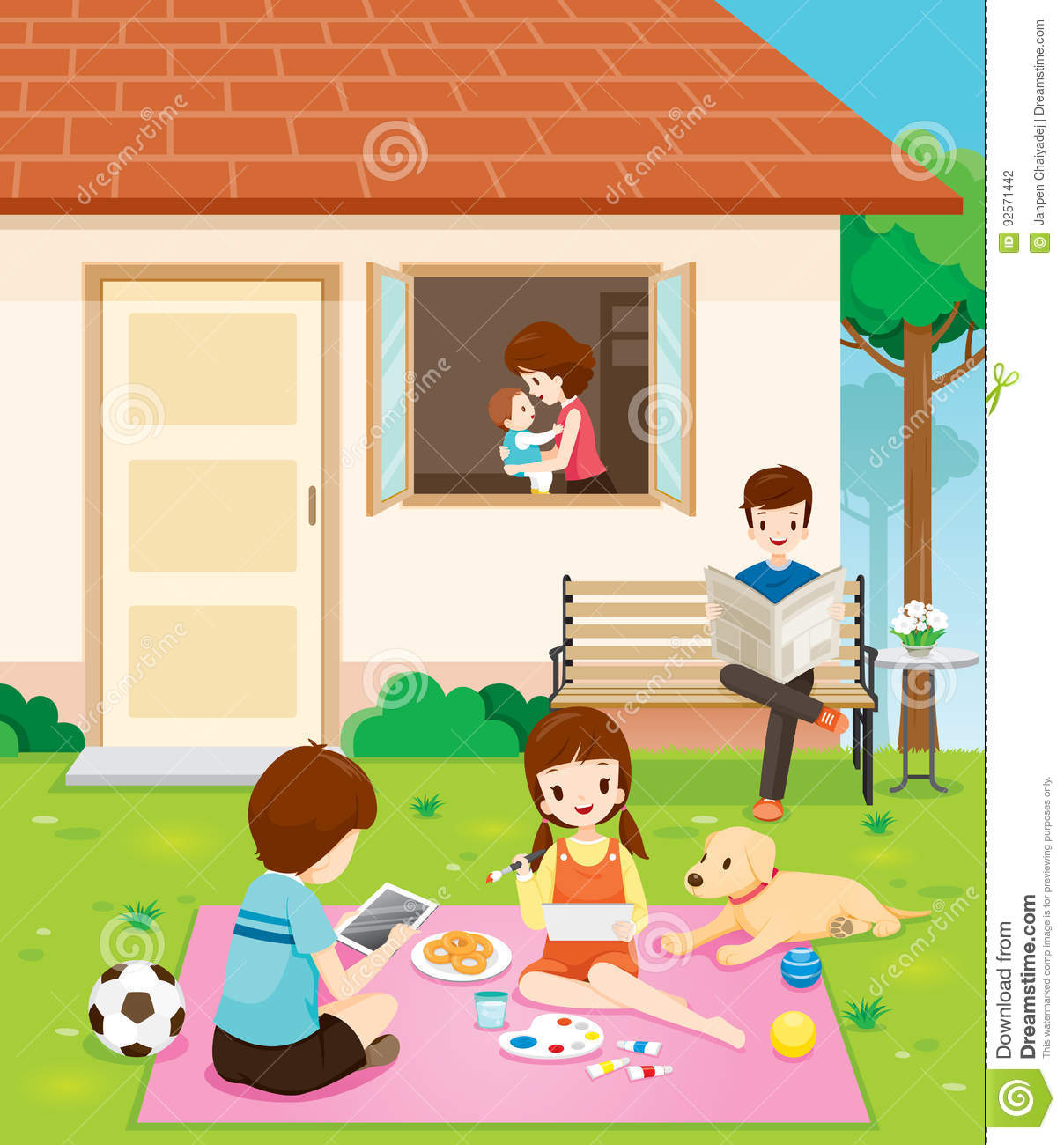 Happy Family Relaxing With Activities At Their Home Stock