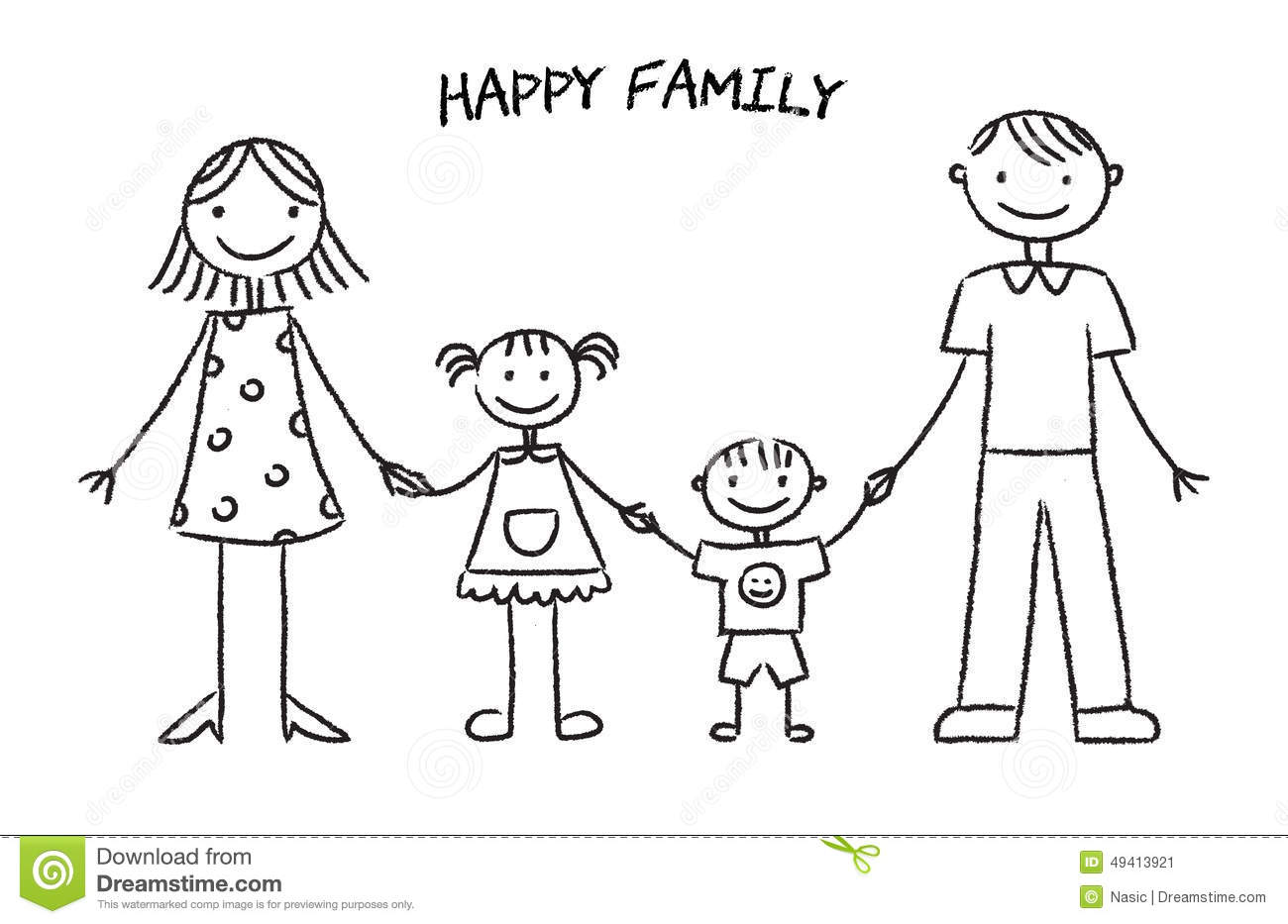 Happy Family Sketch Stock Vector Illustration Of