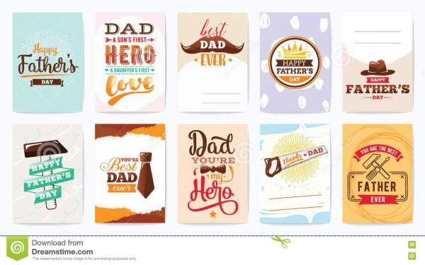 Happy Fathers Day Cards Set. Vector Typography. Stock ...