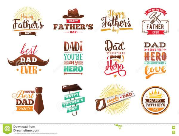 Happy Fathers Day Set. Vector Typography. Stock Vector ...
