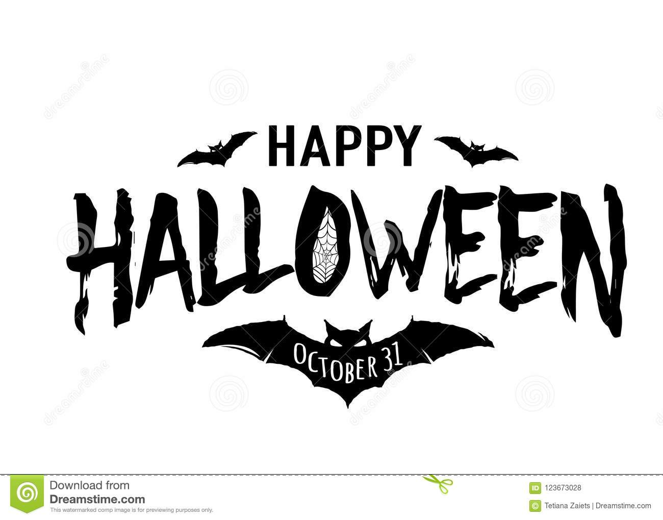 Happy Halloween Vector Text Banner Silhouette Holiday