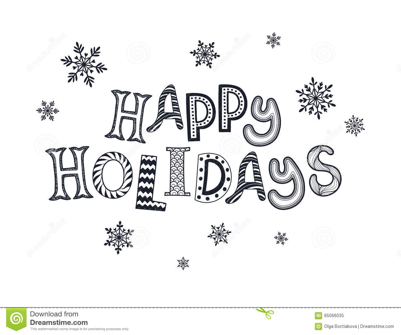 Happy Holidays Card Stock Vector Illustration Of Doodle