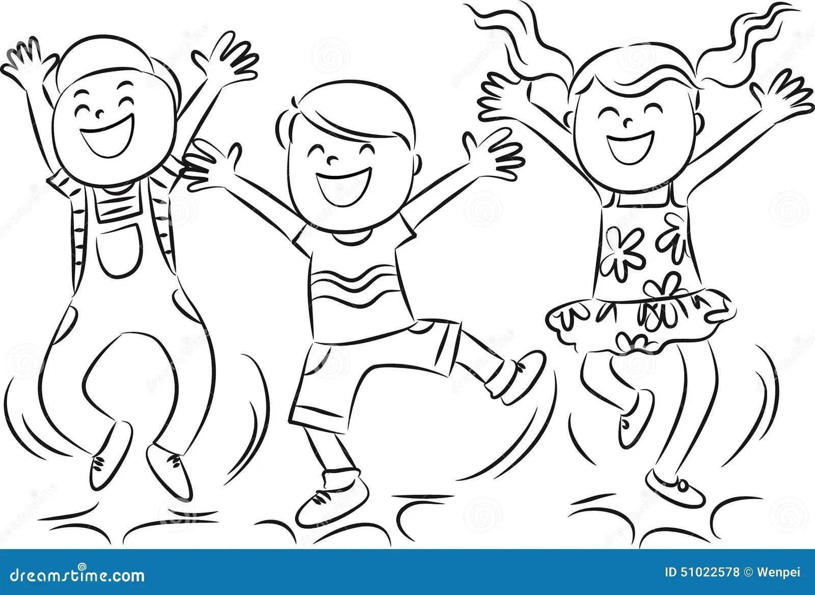 Happy Jumping Kids Stock Illustration Illustration Of