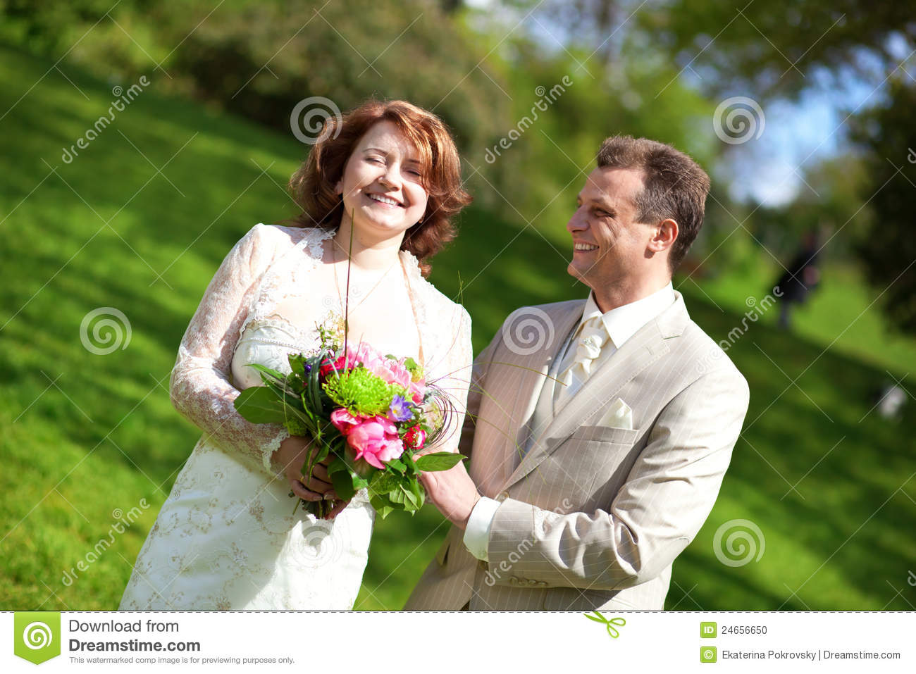 Happy Just Married Couple Outdoors Stock Photo