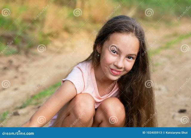 Cute Teen Girl Smiling Very Happy On