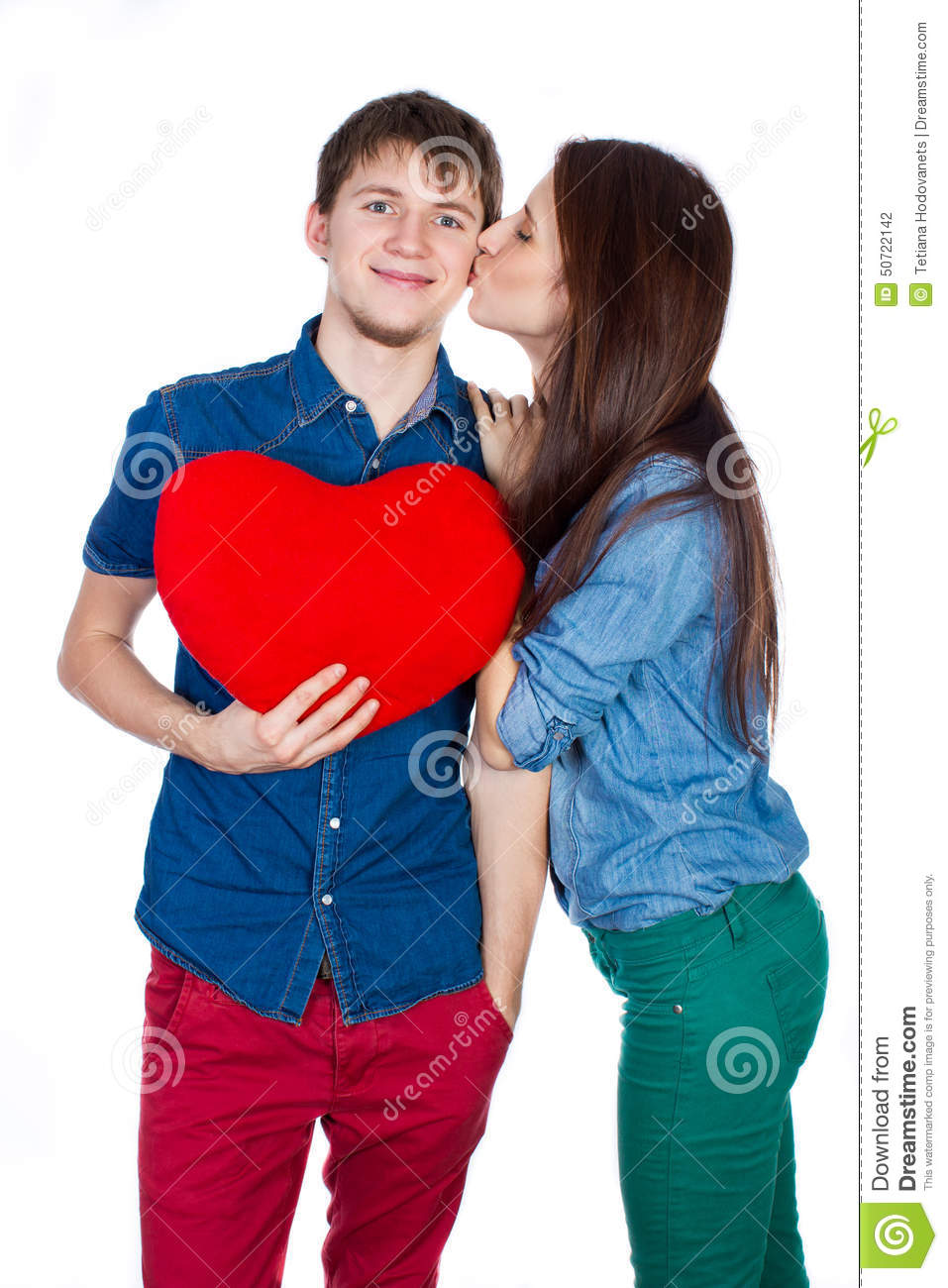 Happy Man Giving A Gift To His Girlfriend Happy Young