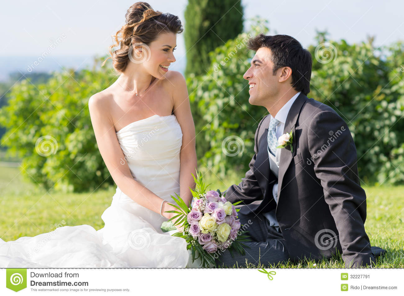 Happy Married Couple At Wedding Stock Image