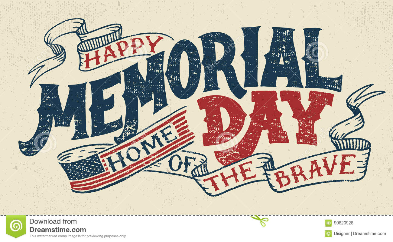 Happy Memorial Day Hand Lettering Greeting Card Stock