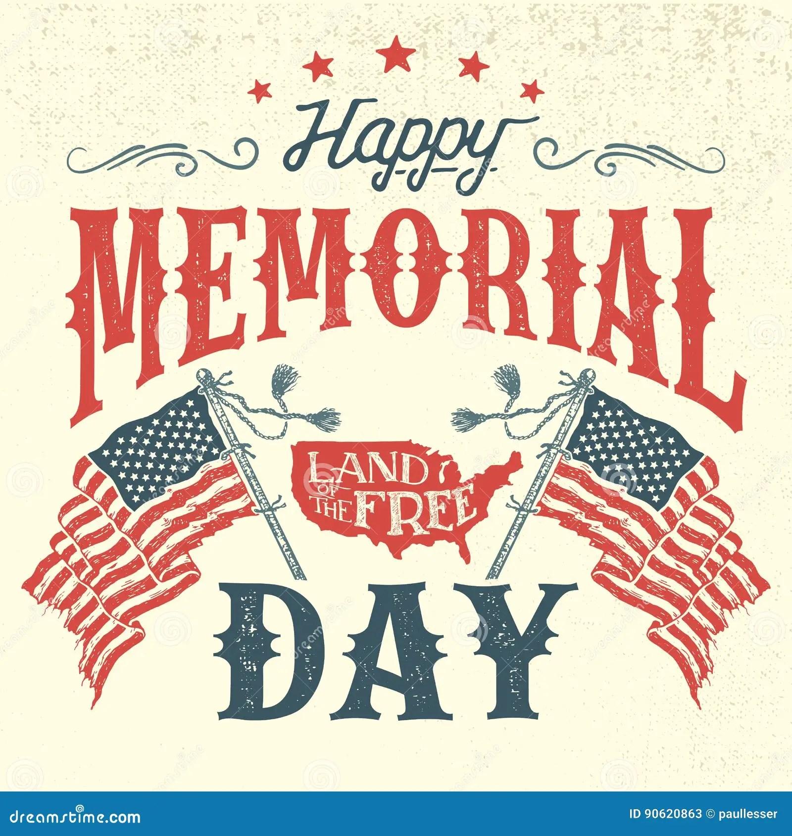 Happy Memorial Day Vintage Greeting Card Stock Vector